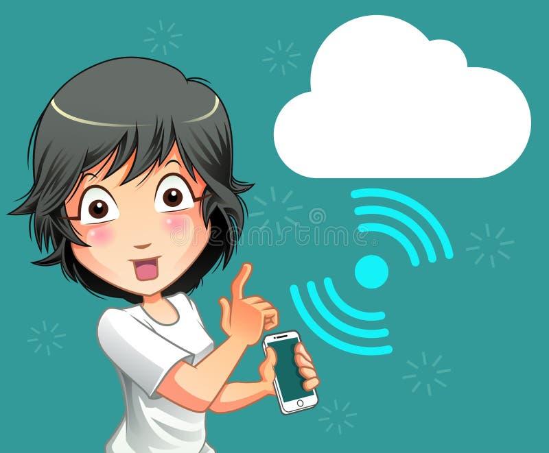 手机和云彩连接技术 皇族释放例证