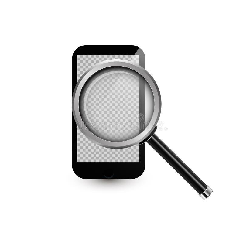 手机和现实放大镜 也corel凹道例证向量 有透明屏幕的智能手机您的图象的 3d嘲笑 皇族释放例证