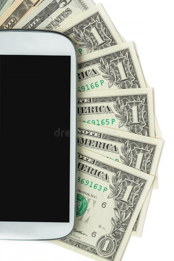 手机和金钱在白色 向量例证