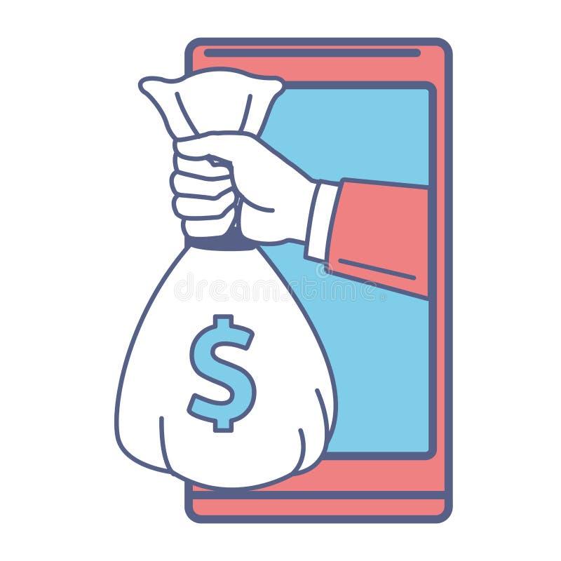 手机和金钱袋子 向量例证