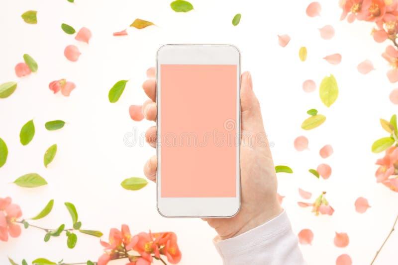 手机嘲笑在有春天装饰的女性手上 免版税库存图片
