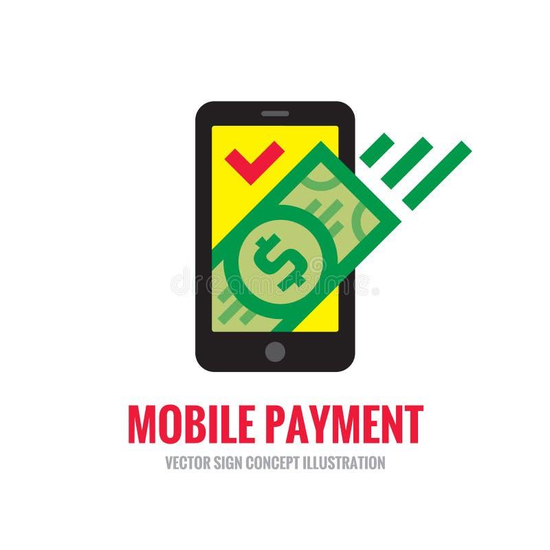 手机在平的样式的付款象 数字式金钱美元-导航商标模板例证 智能手机货币 皇族释放例证
