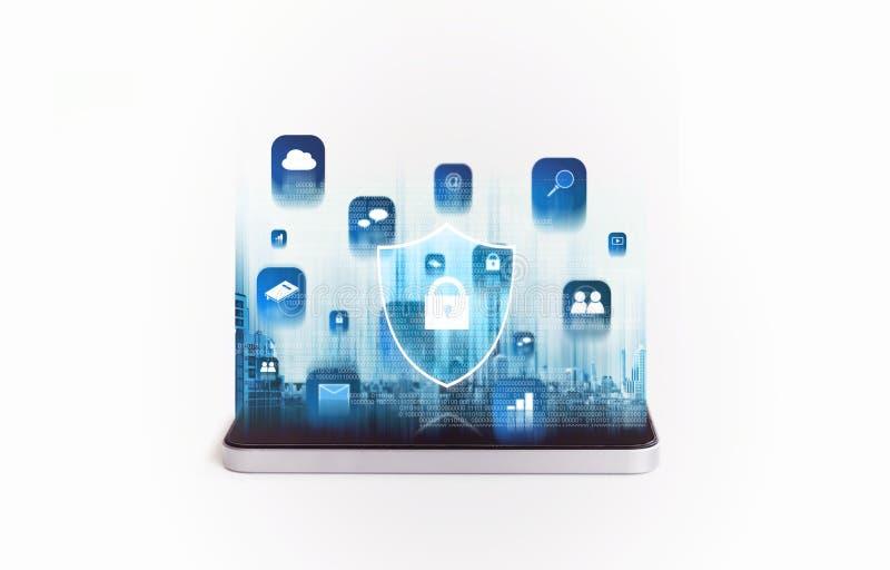 手机安全和数字保障系统 有应用和锁象全息图的流动智能手机 库存例证