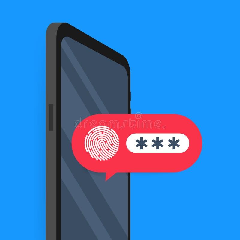 手机开锁的通知按钮和口令字段传染媒介,智能手机安全,用户授权的概念 皇族释放例证