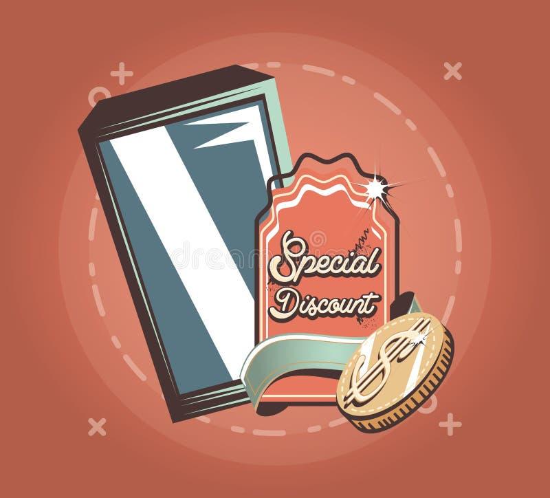 手机特别折扣金钱徽章减速火箭的购物样式 库存例证