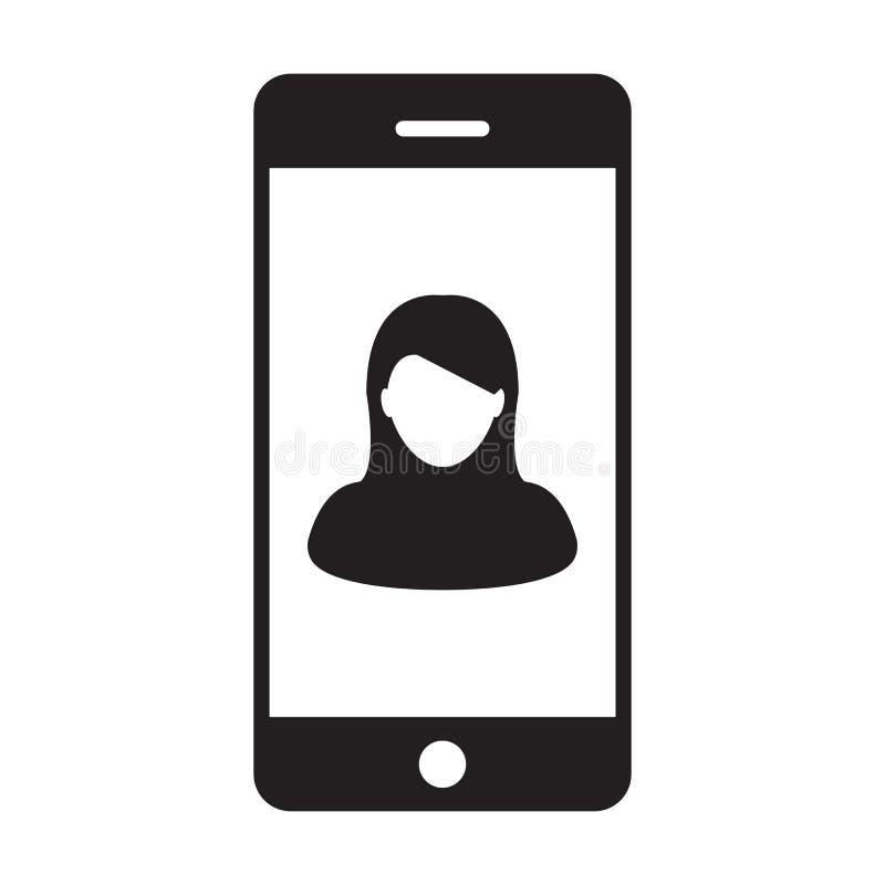 手机用户象传染媒介女性有流动标志的外形具体化在纵的沟纹图表的通信的 向量例证