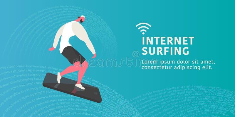 手机的年轻时髦人士作为水橇板,当互联网冲浪在抽象背景时 皇族释放例证