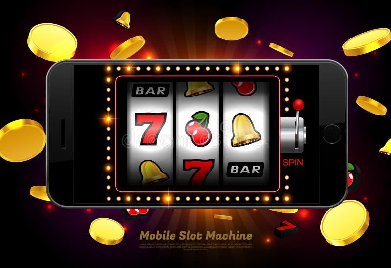 手机的幸运的老虎机赌博娱乐场有轻的背景 皇族释放例证
