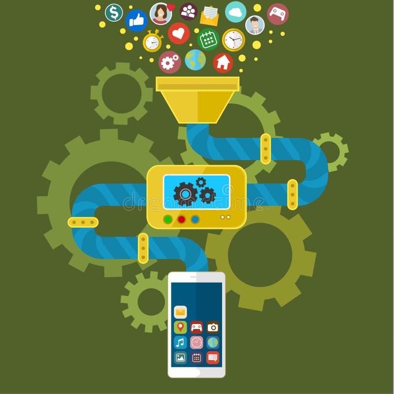 手机的App发展 皇族释放例证