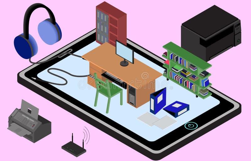 手机的Infographic办公室 工作场所的等量图象有桌的,衣橱,书架,打印机,影印机,电传 库存例证