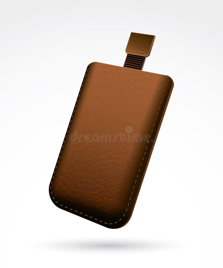 布朗皮革手机盒 向量例证