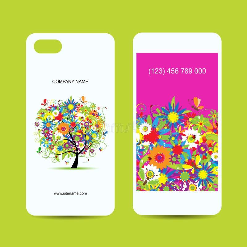手机盖子和屏幕,花卉树 皇族释放例证