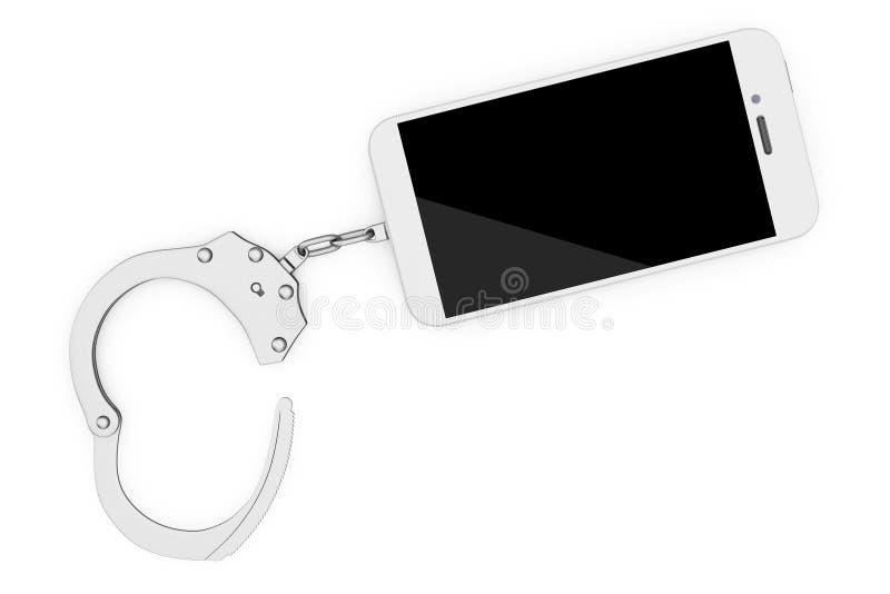 手机被束缚对金属手铐 3d翻译 向量例证