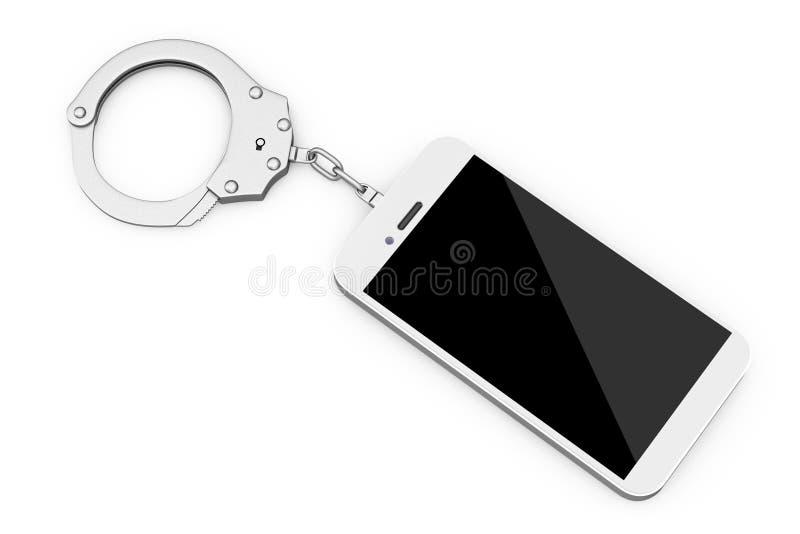 手机被束缚对金属手铐 3d翻译 皇族释放例证