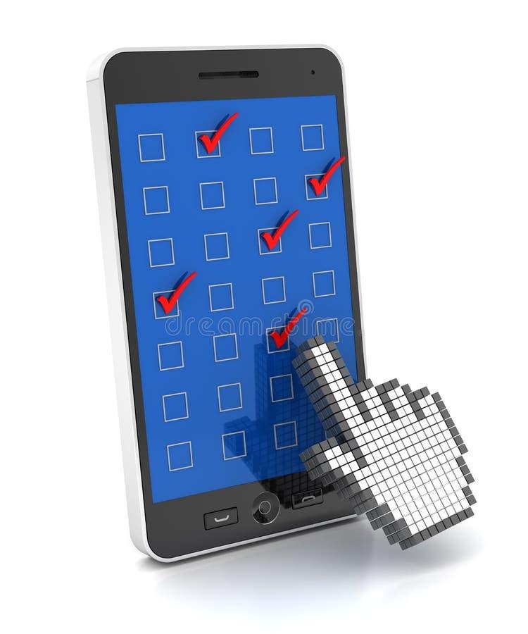 手机调查, 3d回报 库存例证