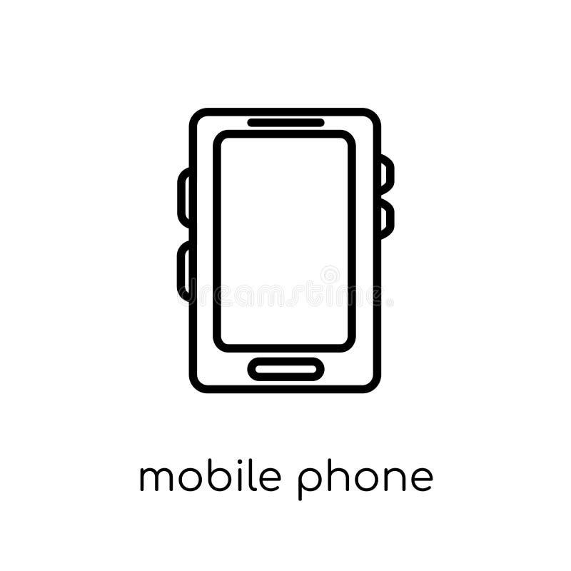 手机象 时髦现代平的线性传染媒介手机 库存例证