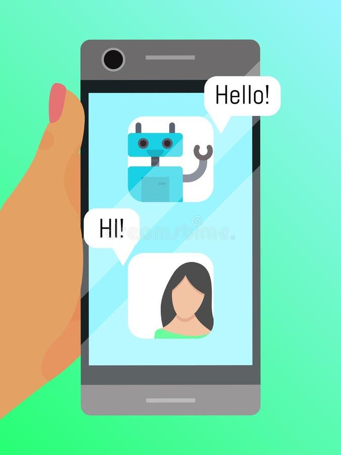 手机通信海报传染媒介例证 聊天与机器人横幅 妇女藏品小配件的手 皇族释放例证
