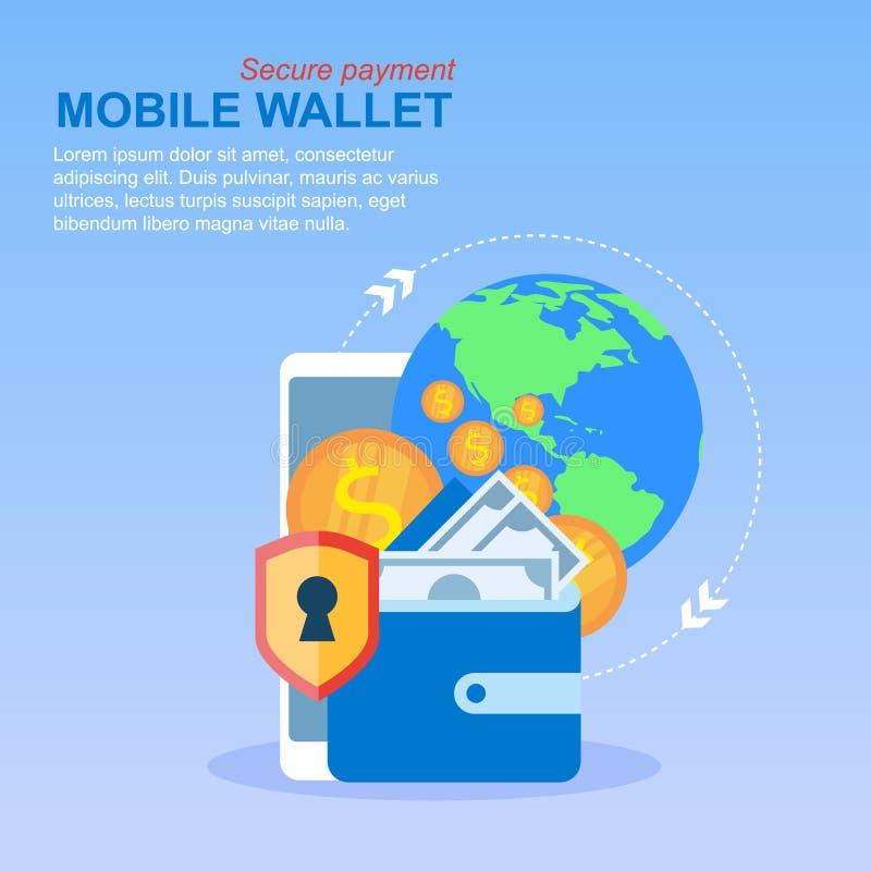 手机钱包汇款全球性付款 向量例证