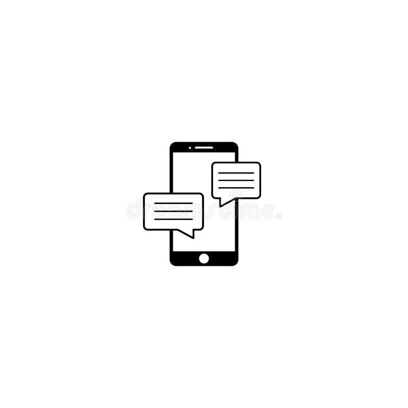 手机闲谈在平的样式的标志象 消息通知在白色被隔绝的背景导航 智能手机文本 向量例证