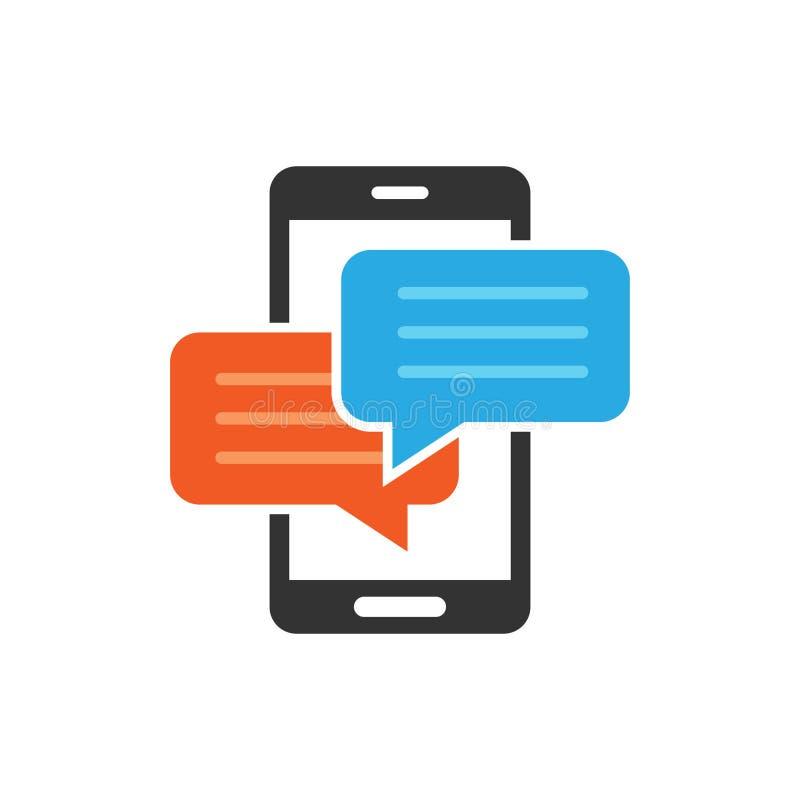 手机闲谈在平的样式的标志象 消息通知导航在白色被隔绝的背景的例证 智能手机文本 皇族释放例证