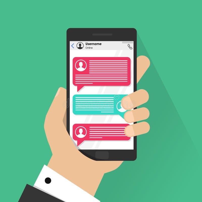 手机闲谈消息在颜色背景、手有智能手机的和聊天的泡影的通知传染媒介 皇族释放例证