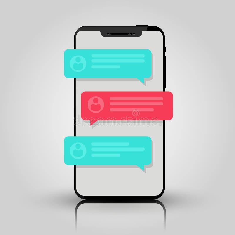 手机闲谈消息通知 聊天的泡影讲话,在网上谈话的概念,讲话,交谈,对话 向量 向量例证