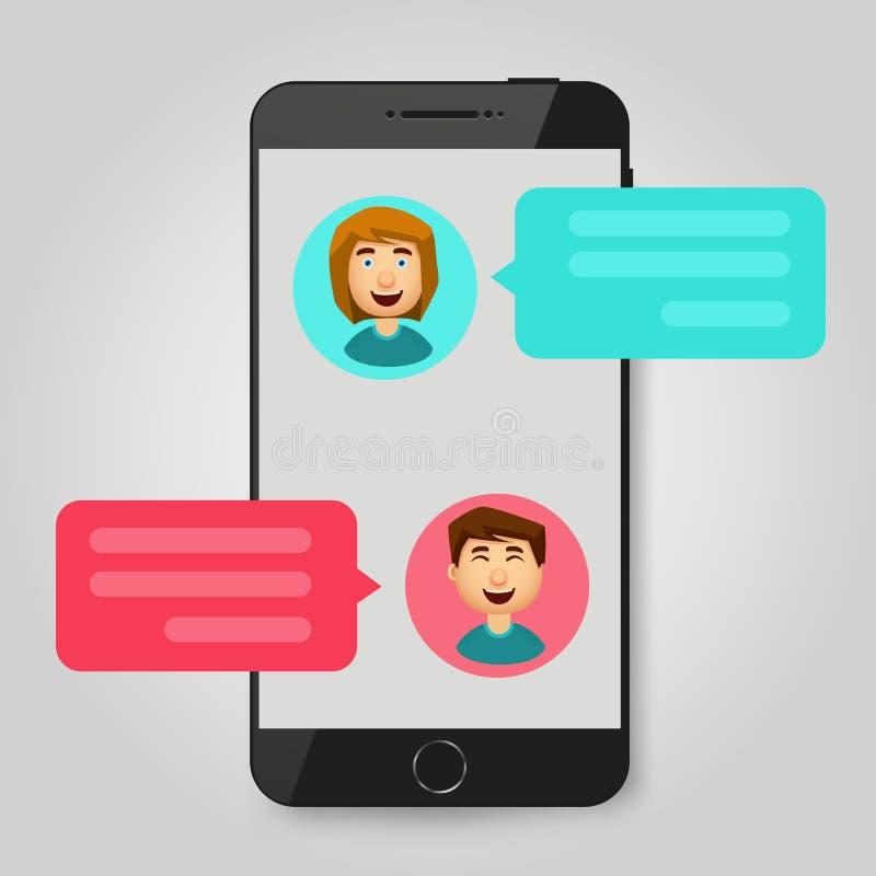 手机闲谈消息通知 聊天的泡影讲话,在网上谈话的概念,讲话,交谈,对话 向量 皇族释放例证
