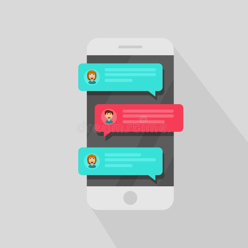手机闲谈消息通知 聊天的泡影讲话,在网上谈话的概念,讲话,交谈,对话 向量 库存例证