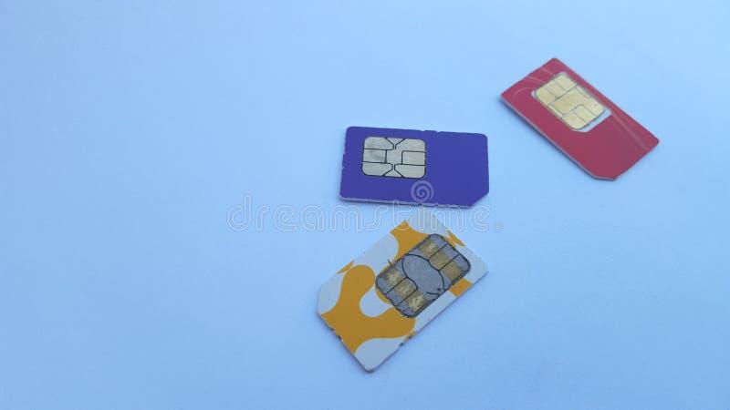 手机sim卡片,其中一技术在通信领域 免版税库存照片