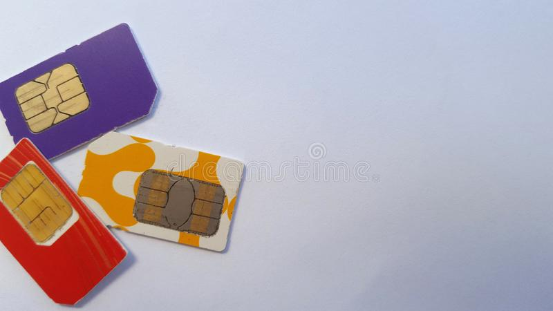 手机sim卡片,其中一技术在通信领域 库存照片