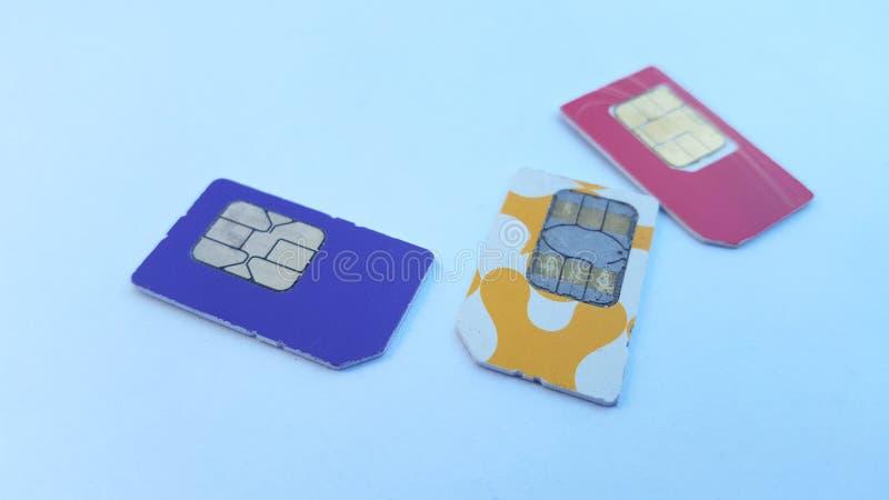 手机sim卡片,其中一技术在通信领域 免版税库存图片
