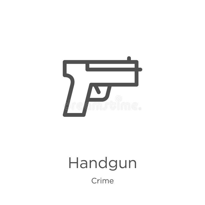 手枪从罪行汇集的象传染媒介 稀薄的线手枪概述象传染媒介例证 概述,稀薄的线手枪象为 向量例证