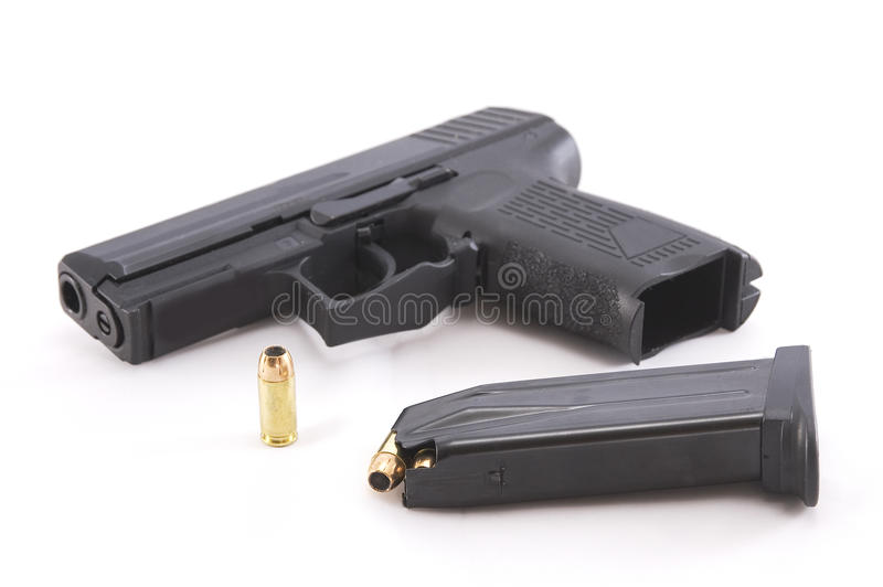 手枪和弹药 库存照片