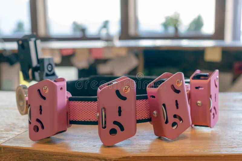 手枪子弹的迷人的桃红色囊 运载的子弹和商店的适应 免版税库存照片