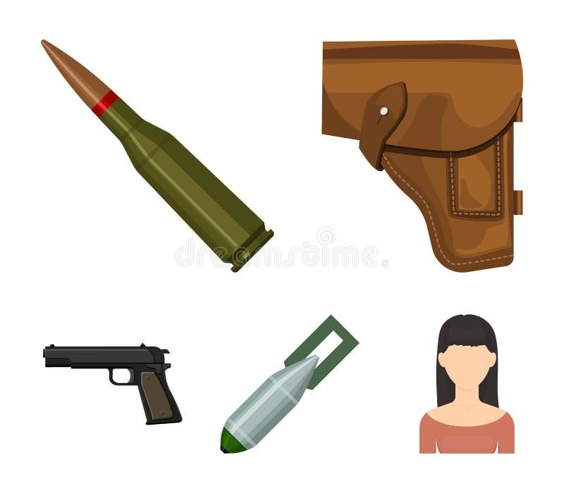 手枪皮套,弹药筒,空气炸弹,手枪 在动画片样式的军事和军队集合汇集象导航标志股票 向量例证