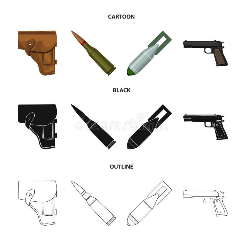 手枪皮套,弹药筒,空气炸弹,手枪 在动画片,黑色,概述样式传染媒介的军事和军队集合汇集象 皇族释放例证