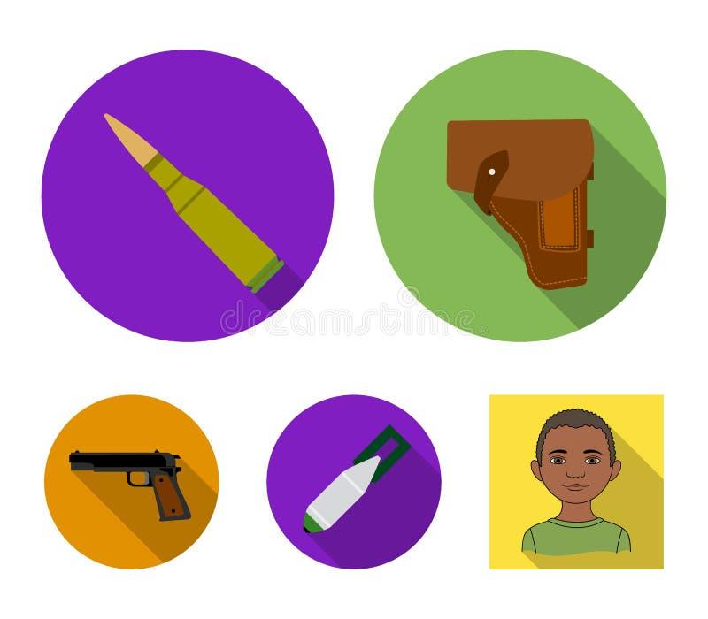 手枪皮套,弹药筒,空气炸弹,手枪 在平的样式的军事和军队集合汇集象导航标志股票 皇族释放例证