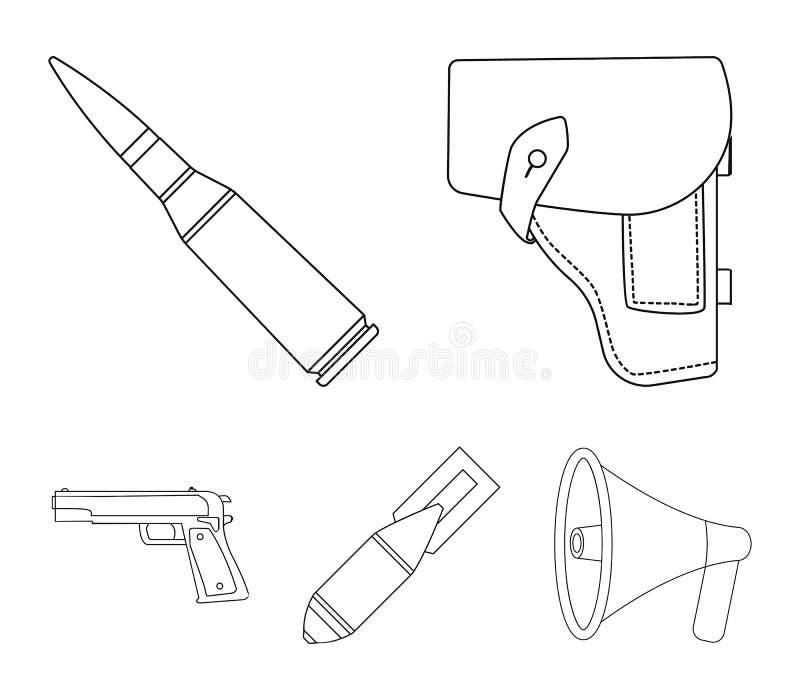 手枪皮套,弹药筒,空气炸弹,手枪 在概述样式的军事和军队集合汇集象导航标志股票 库存例证