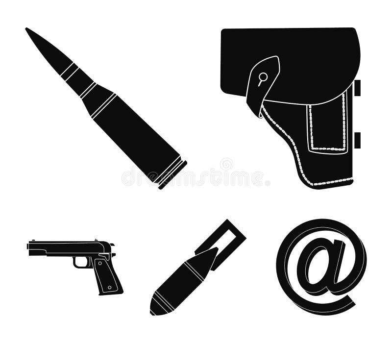 手枪皮套,弹药筒,空气炸弹,手枪 在黑样式的军事和军队集合汇集象导航标志股票 向量例证
