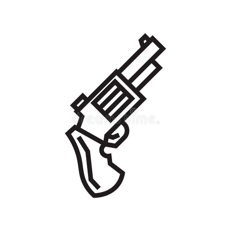 手枪象在白色背景和标志隔绝的传染媒介标志,手枪商标概念 皇族释放例证