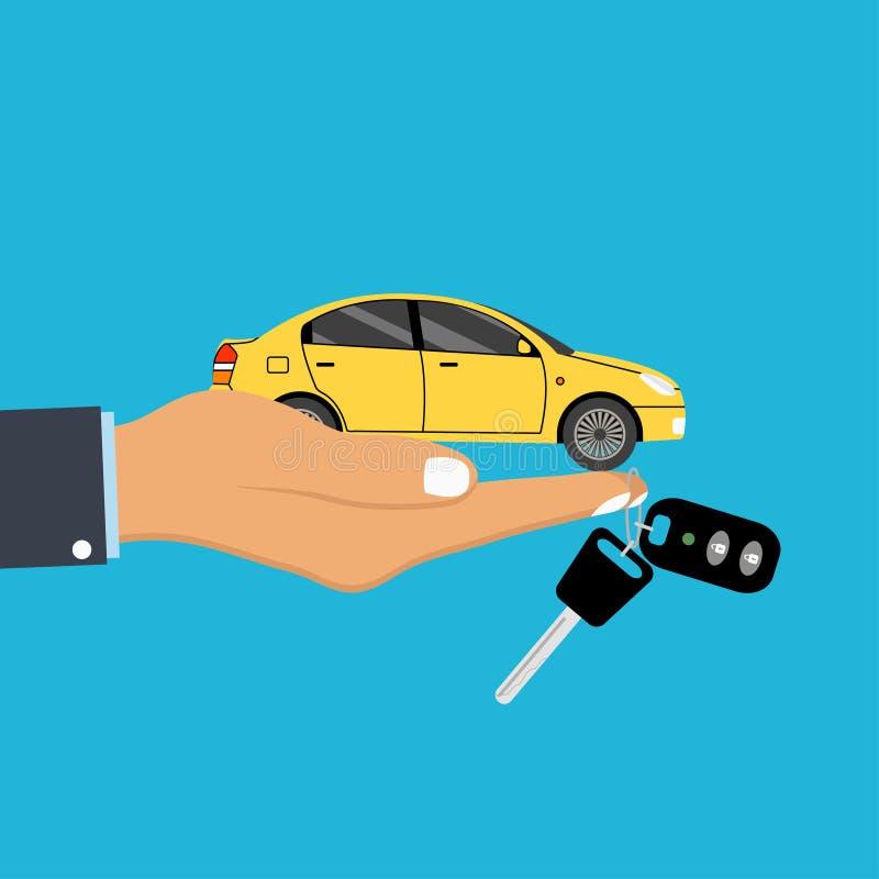 手棕榈把握汽车和关键与报警系统keychain在手指 自动运输汽车代理、销售和租的概念  库存例证