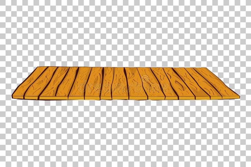 手棕色垂直的木地板或墙壁凹道剪影在透明作用背景 向量例证
