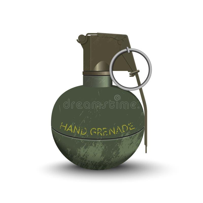 手榴弹的详细的现实图象 军队炸药 武器象 军事对象 向量例证