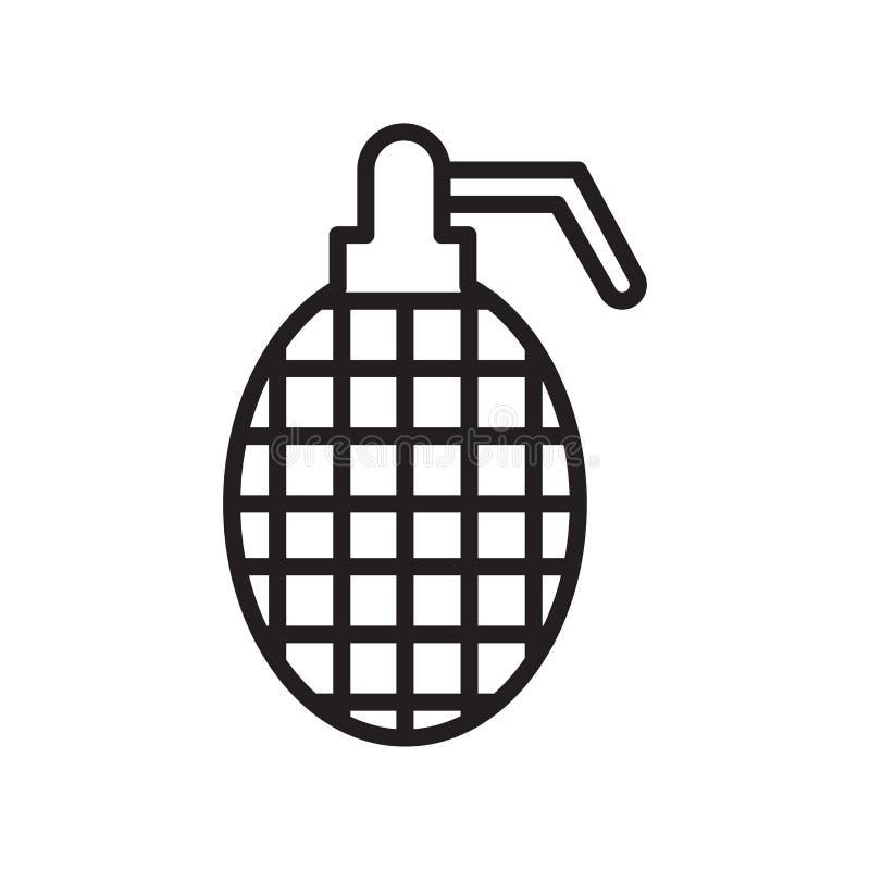 手榴弹象在白色背景和标志隔绝的传染媒介标志,手榴弹商标概念,概述标志,线性标志 向量例证