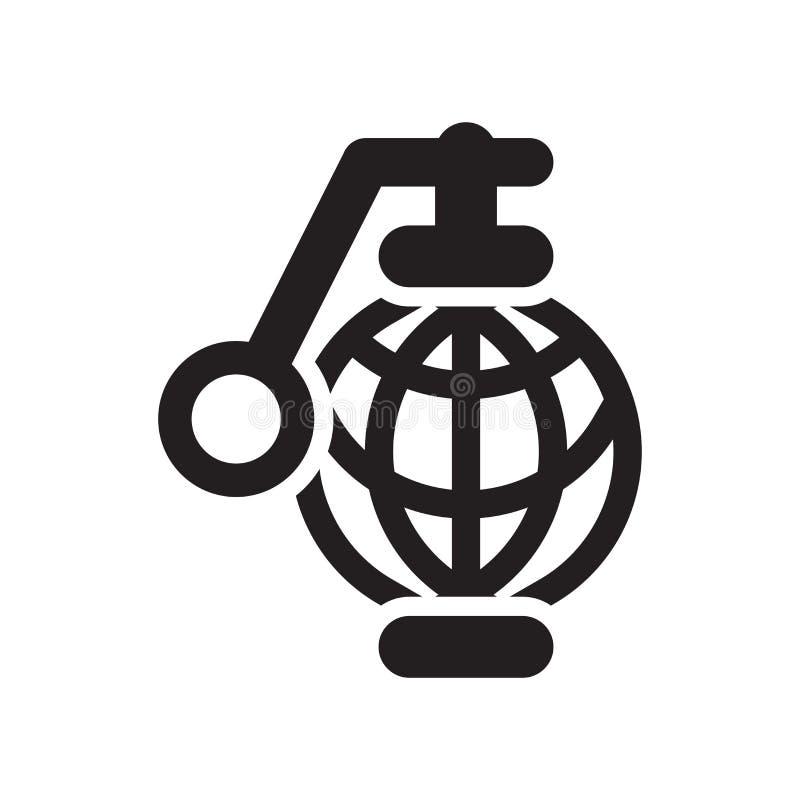 手榴弹象在白色背景和标志隔绝的传染媒介标志 向量例证