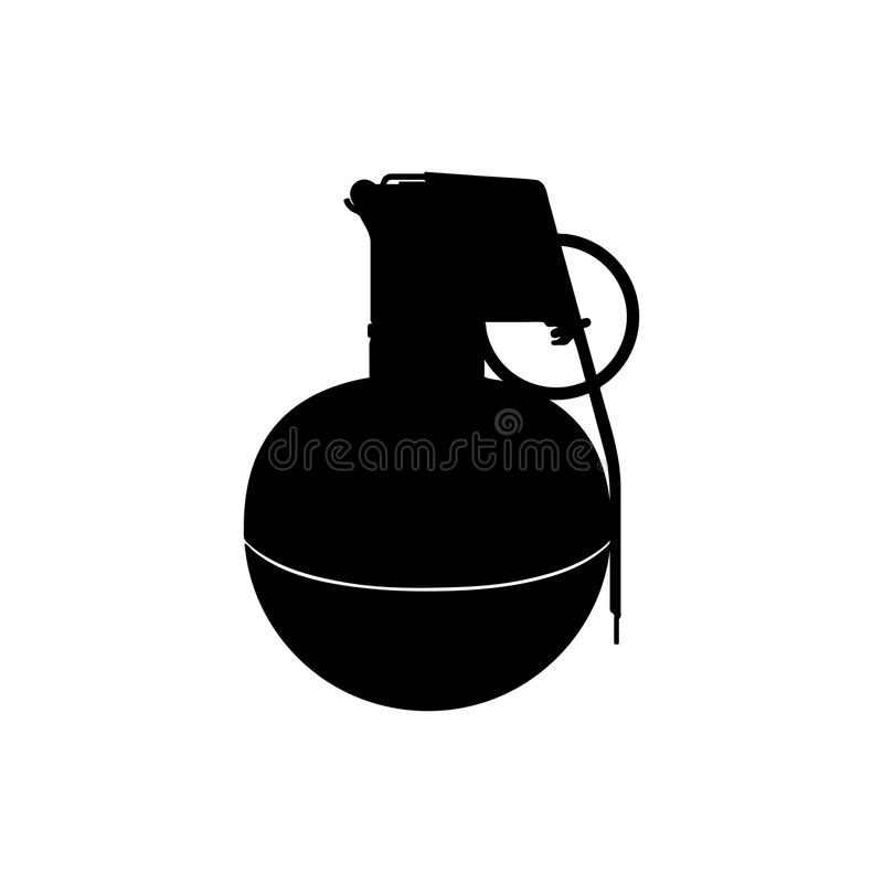 手榴弹黑剪影  军队炸药 武器象 军事对象 皇族释放例证