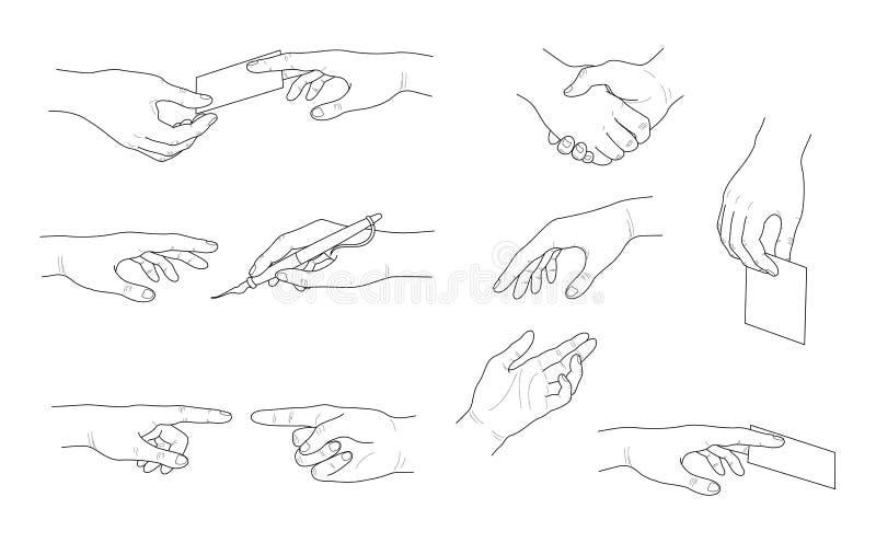 手汇集 不同的手势 库存例证