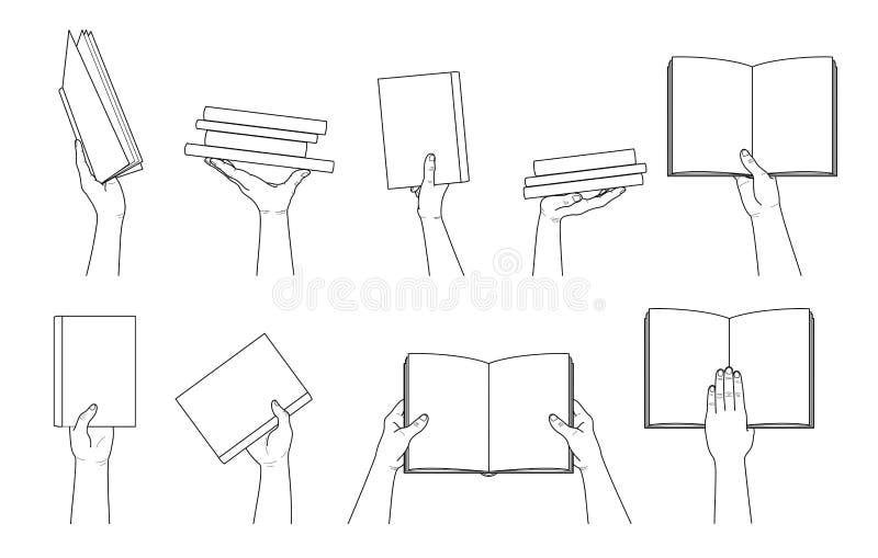 手汇集 拿着书的现有量 不同的手势 库存例证