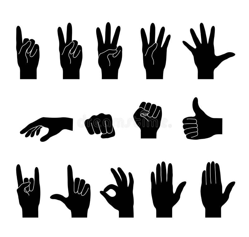 手汇集 被隔绝的黑剪影 向量例证