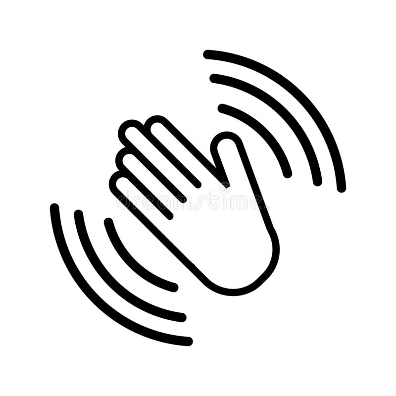 手波浪象,挥动喂或你好姿态线艺术应用程序和网站的传染媒介象 向量例证
